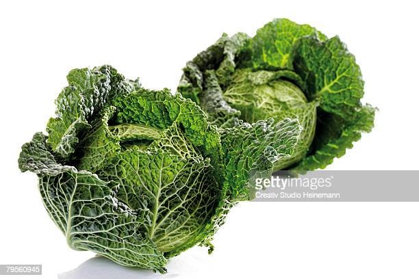 Savoy cabbages, close-up