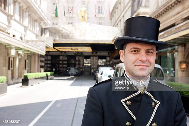 savoy hotel - doorman stock photos and pictures