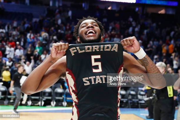 Savoy of the Florida State Seminoles reacts after defeating the Xavier Musketeers during the second half in the second round of the 2018 Men's NCAA...