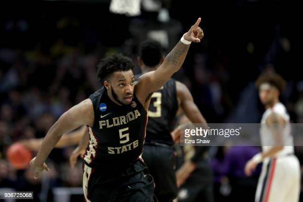 Savoy of the Florida State Seminoles reacts after making a basket in the first half against the Gonzaga Bulldogs in the 2018 NCAA Men's Basketball...
