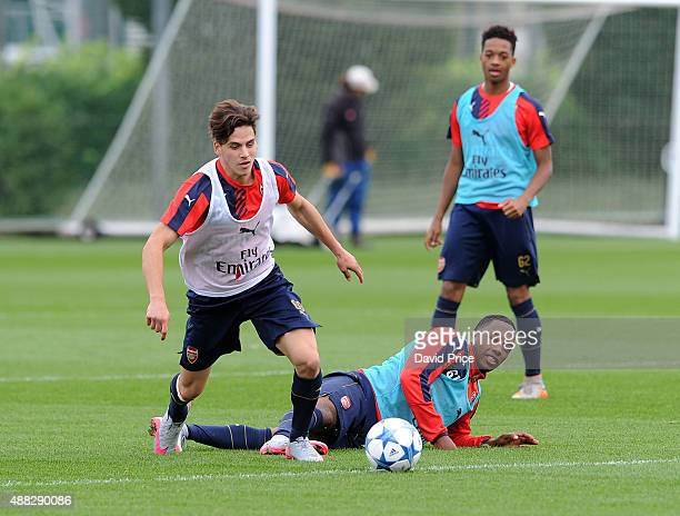 Savvas Mourgos and Kaylen Hinds of Arsenal during the U19 training session at London Colney on September 15 2015 in St Albans England
