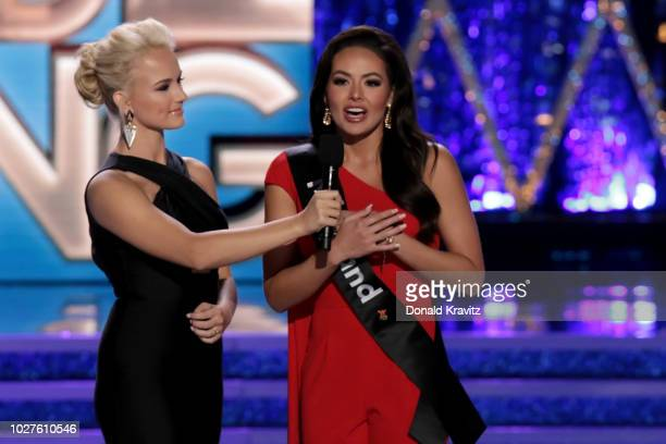 Savvy Shields Miss America 2017 asks an On Stage Question of Miss Maryland 2018 Adrianna David at the 1st Night of Preliminaries of the Miss America...