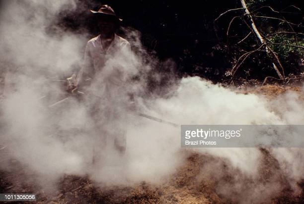 Sawdust burning at sawmill in Rio Branco city Acre State Amazon deforestation Brazil