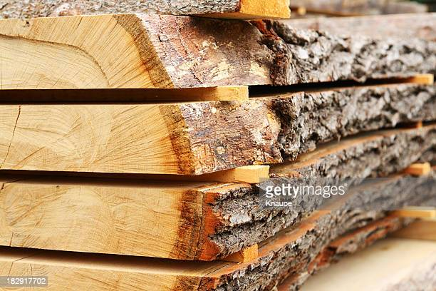 Sawed oak tree trunk plank being dried