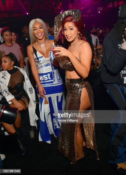 Saweetie and Cardi B attend Huncho Reality The Album Release Experience on October 12 2018 in Los Angeles California
