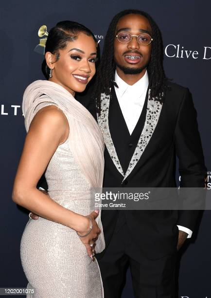 """Saweetie and Quavo arrives at the Pre-GRAMMY Gala and GRAMMY Salute to Industry Icons Honoring Sean """"Diddy"""" Combs at The Beverly Hilton Hotel on..."""