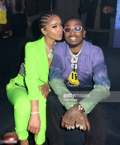 Saweetie and Quavo attend the boohooMAN x Quavo Launch Party at The Sunset Room on April 10 2019 in Los Angeles California