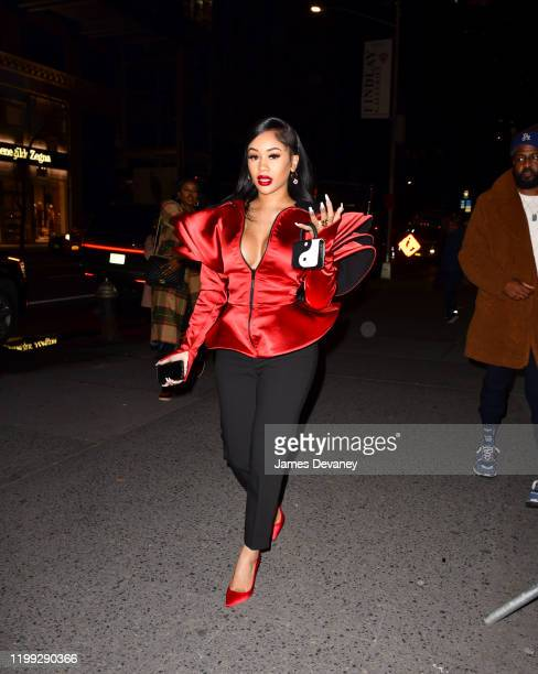Saweetie arrives to Bergdorf Goodman on February 7 2020 in New York City