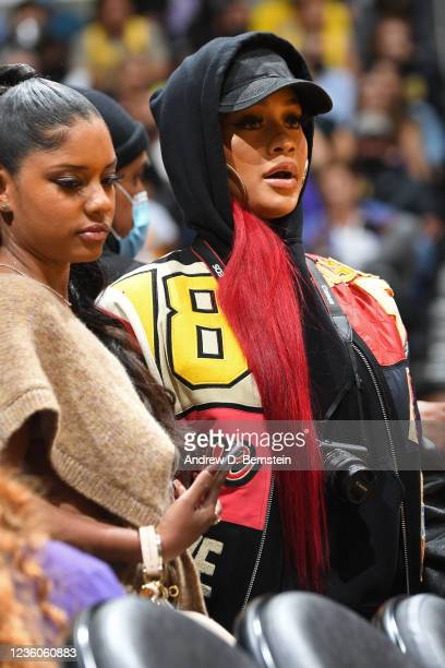 Saweetie attends the Phoenix Suns game against the Los Angeles Lakers on October 22, 2021 at STAPLES Center in Los Angeles, California. NOTE TO USER:...