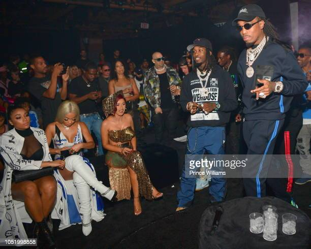 Saweetie Cardi B Offset and Quavo attend Huncho The Album Release Experience on October 12 2018 in Los Angeles California