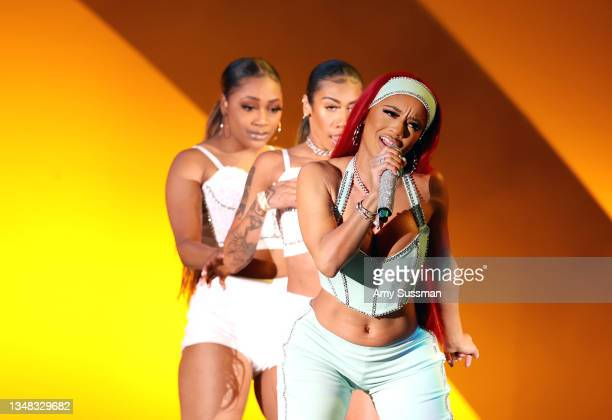 """Saweetie performs onstage during the 8th annual """"We Can Survive"""" concert hosted by Audacy at Hollywood Bowl on October 23, 2021 in Los Angeles,..."""