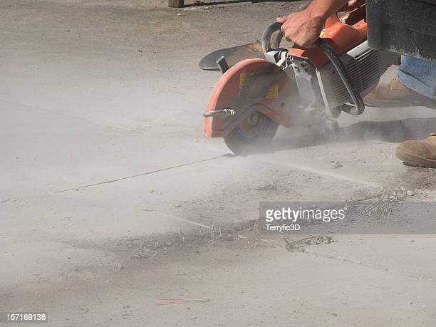 sawing hole in concrete with circular masonry saw for repairs - terryfic3d stock pictures, royalty-free photos & images