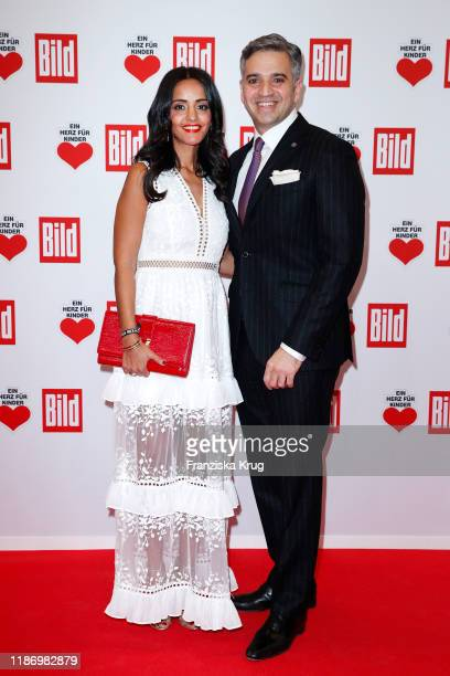 Sawsan Chebli and her husband Niza Maarouf during the Ein Herz Fuer Kinder Gala at Studio Berlin Adlershof on December 7 2019 in Berlin Germany