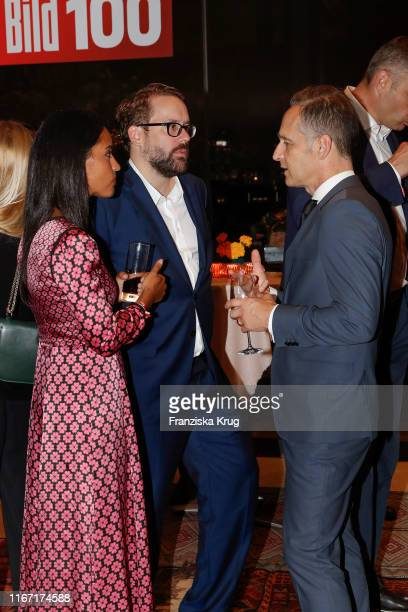 Sawsan Chebli Paul Ronzheimer and Heiko Maas during the Bild 100 summer party on September 9 2019 in Berlin Germany