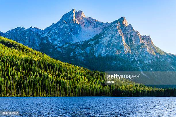 sawtooth mountains and stanley lake - idaho stock pictures, royalty-free photos & images