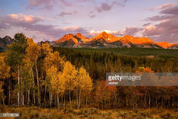 sawtooth sunrise-autumn - idaho stock pictures, royalty-free photos & images