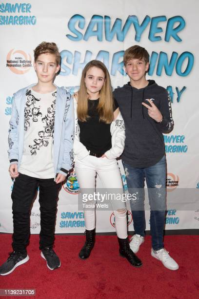 Sawyer Sharbino Megan Stott and Duncan Stott attend Sawyer Sharbino's 13th Birthday/AntiBullying Charity Event on March 29 2019 in Sherman Oaks...