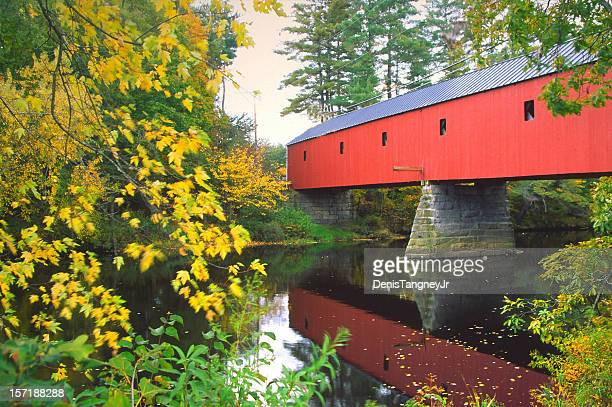 sawyers crossing covered bridge in new hampshire - covered bridge stock photos and pictures