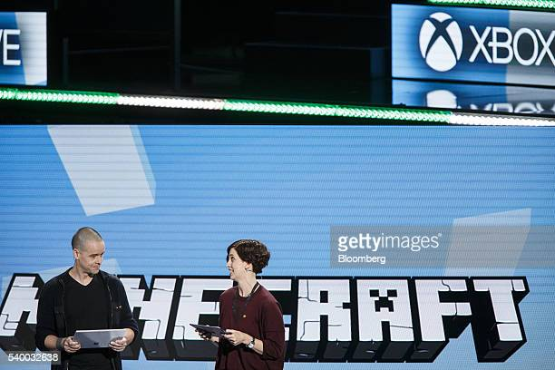 Sax Persson left and Lydia Winters of the Minecraft team speak about Minecraft integration with Xbox Play Anywhere during the Microsoft Corp Xbox E3...