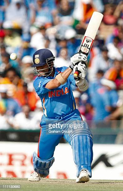 Saxhin Tendulkar of India batting during the 2011 ICC World Cup second Semi-Final between Pakistan and India at Punjab Cricket Association Stadium on...