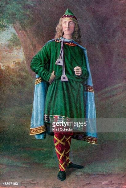 Saxon A Saxon man wearing a banded Phrygian cap a cloak of embroidered blue cloth a green embroidered tunica and red stockings with yellow...