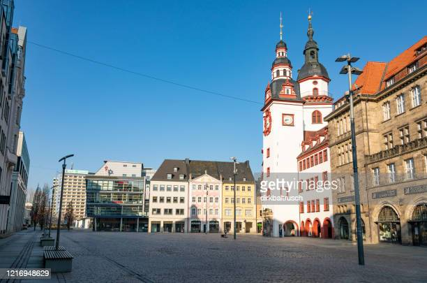 saxon downtown city of chemnitz - deserted in times of corona virus - chemnitz stock pictures, royalty-free photos & images