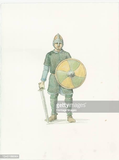 Saxon fyrdman, c1066 . A reconstruction illustration from Battle Abbey, East Sussex. Artist Judith Dobie.