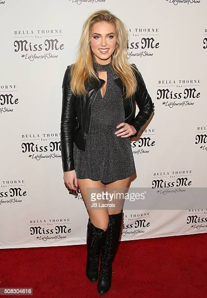 Saxon Sharbino attends the Miss Me and Cosmopolitan's spring campaign launch event on February 3 2016 in West Hollywood California