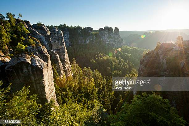 Saxon Switzerland at sunrise