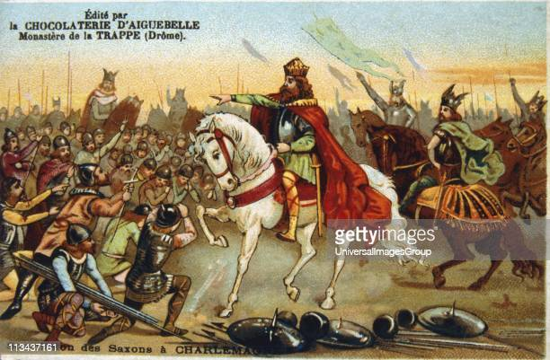 Saxons submitting to Charlemagne 777 19th century lithograph