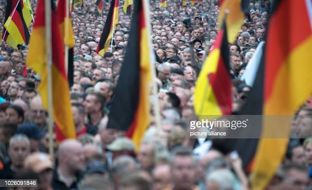 Saxony, Chemnitz: The participants of the demonstration of AfD and the xenophobic alliance Pegida, to which also the participants of the rally of the...