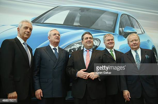 Saxony Governor Stanislaw Tillich Volkswagen Chairman Martin Winterkorn German Vice Chancellor and Economy and Energy Minister Sigmar Gabriel Porsche...