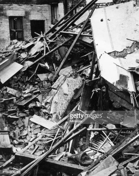 Saxony Road Kensington Liverpool bomb damage to rear entrance of working class pub in during recent air raid pictured Wednesday 13th November 1940