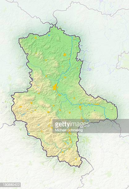 Saxony-Anhalt, Germany, shaded relief map