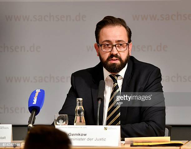 Saxony's state minister of Justice Sebastian Gemkow holds a press conference on Jaber alBakr's suicide a Syrian bomb plot suspect on October 13 2016...