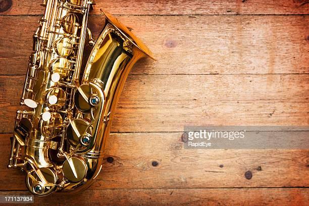 Saxophone on wood