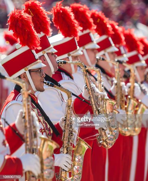 Saxophone players of the Corn Husker Band performs at halftime during the game between the BethuneCookman Wildcats and the Nebraska Cornhuskers on...