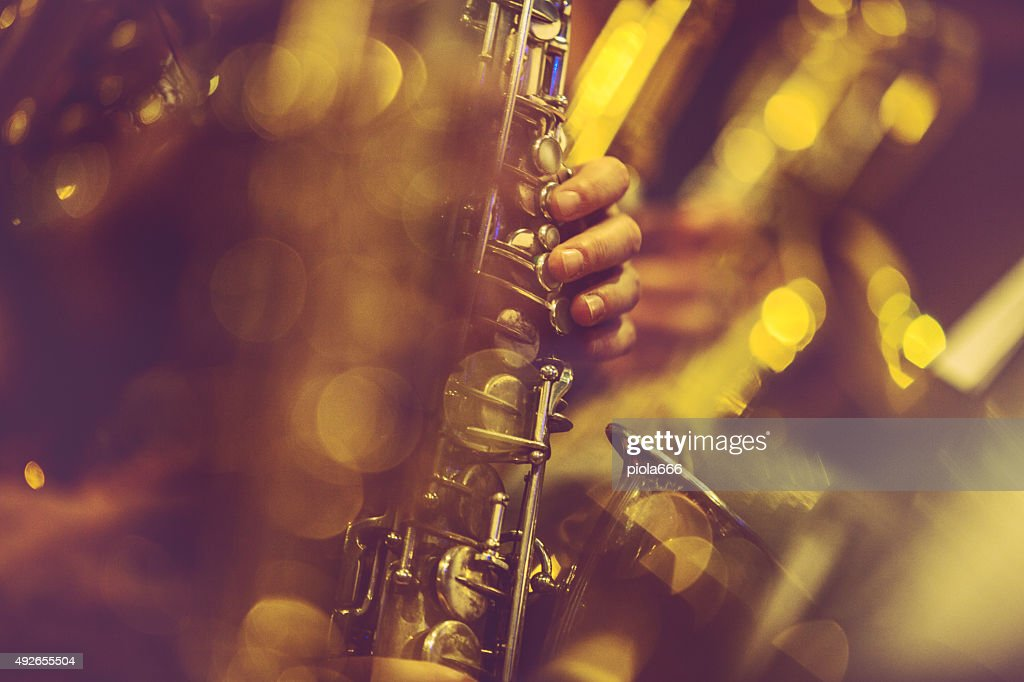 Saxophone Players playing live music : Stock Photo
