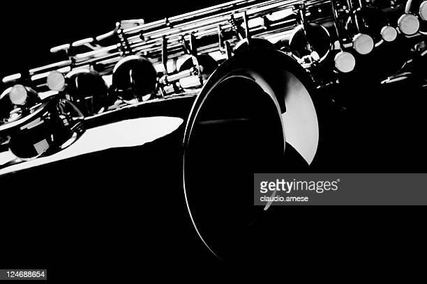 Saxophone with Black Background.