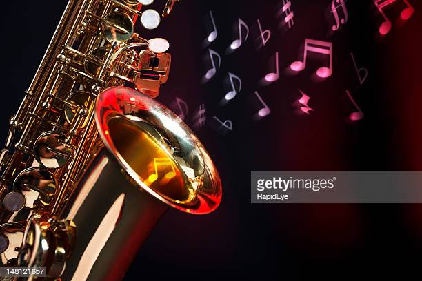 saxophone with musical notes - jazz music stock pictures, royalty-free photos & images