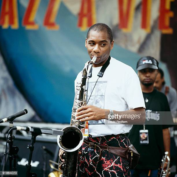Saxophonist Branford Marsalis performs on stage at the Jazz A Vienne Festival held in Vienne France in July 1995