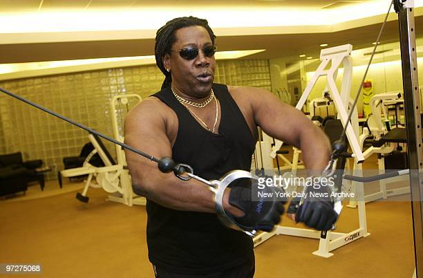 Saxophonist Clarence Clemons also known as 'the Big Man' in Bruce Springsteen's E Street Band does cable flies at a gym in the Trump International...
