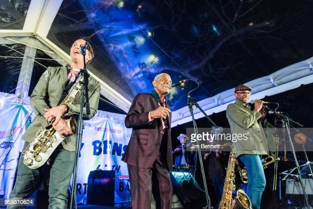 Saxophonist Clint Maedgen clarinetist Charlie Gabriel and trumpeter Branden Lewis of Preservation Hall Jazz Band perform live on stage at Ray...