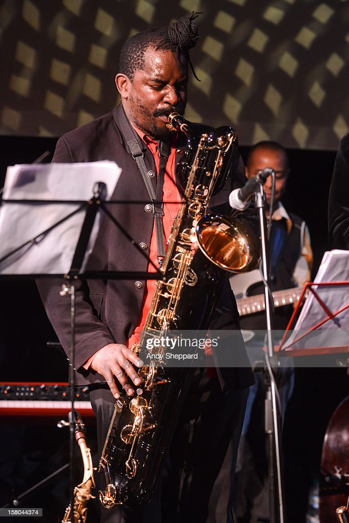 saxophonist Jason Yarde performs for the Jazz in the Round 2012 Christmas Special at The Cockpit Theatre on December 9, 2012 in London, England.