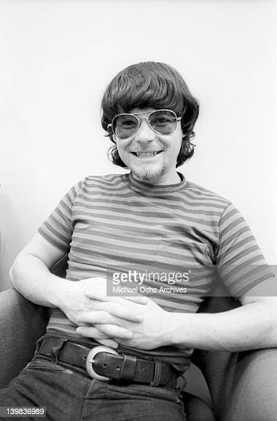 Saxophonist Jerry Martini of the psychedelic soul group 'Sly And The Family Stone' poses for a portrait session at CBS Studios on August 1 1968 in...