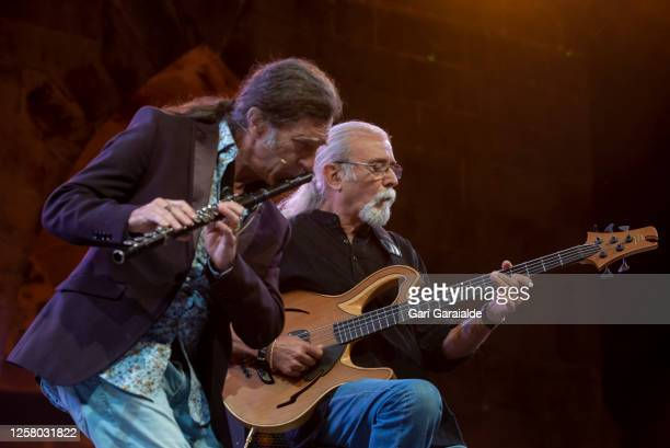 Saxophonist Jorge Pardo performs on stage with bass player Carles Benavent during 55th edition of the Heineken Jazzaldia Festival on July 24 2020 in...