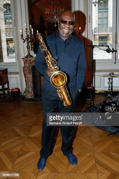 Saxophonist Manu Dibango attends the Franck Sorbier Haute Couture Spring Summer 2018 show as part of Paris Fashion Week on January 24 2018 in Paris...
