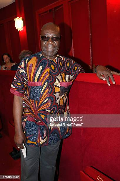 Saxophonist Manu Dibango attends the Franck Sorbier show as part of Paris Fashion Week Haute Couture Fall/Winter 2015/2016. Held at Theatre Hebertot...