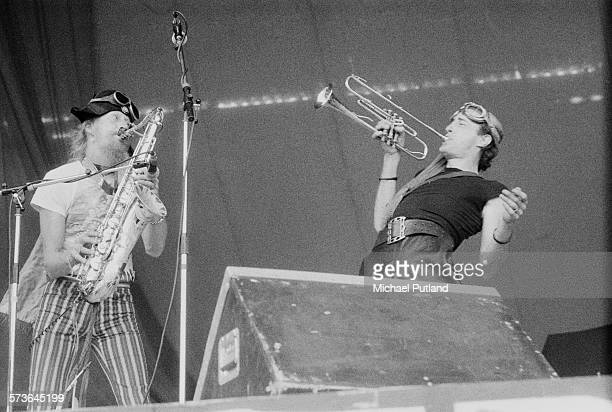 Saxophonist Nik Turner and South African writer poet and musician Robert Calvert performing with English space rock group Hawkwind at Cardiff Castle...