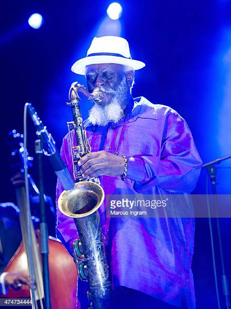 Saxophonist Pharoah Sanders performs during 38th Annual 2015 Atlanta Jazz Festival Day 3 at Piedmont Park on May 24 2015 in Atlanta Georgia